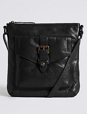 Leather Buckle Across Body Bag, BLACK, catlanding