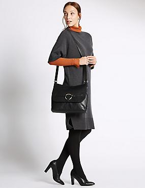 Faux Leather Ring Messenger Bag, , catlanding