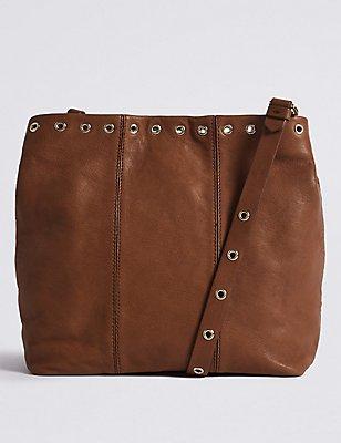 Leather Eyelet Slouch Across Body Bag , RUST, catlanding