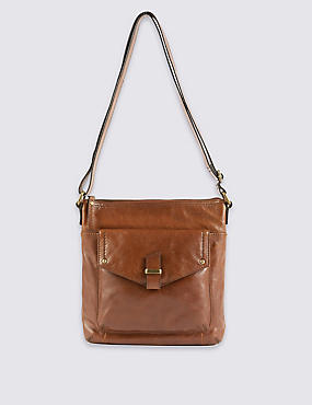 Leather Across Body Bag, DARK TAN, catlanding