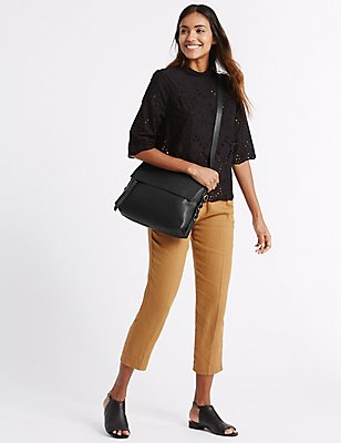 Faux Leather Grainy Messenger Bag, BLACK, catlanding