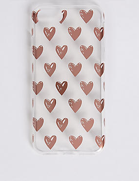 iPhone 7 Heart Print Phone Case, GOLD, catlanding