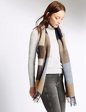 Geruite dames sjaal met wol, MARINE MIX, catlanding