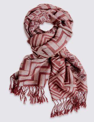 Длинный шарф с геометрическим жаккардовым рисунком M&S Collection T016181T