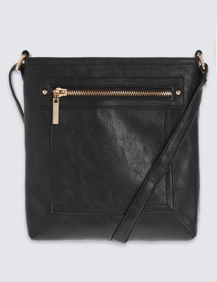Сумка через плечо с карманом на молнии M&S Collection T016194Z
