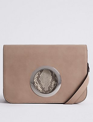 Faux Leather Ring Across Body Bag , NUDE MIX, catlanding