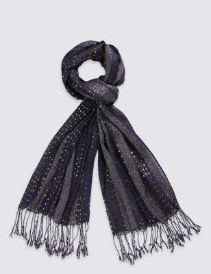 Лёгкий шарф в полоску с пайетками M&S Collection T016224T