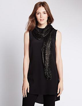 Sequin Embellished Striped Scarf, BLACK, catlanding