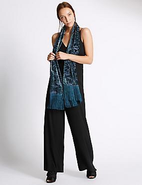 Sjaal met paisley- en Devoré-motief, GROEN, catlanding