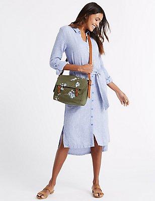 Embroidered Satchel Bag, , catlanding