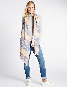 Woven Wave Print Scarf, BLUE MIX, catlanding