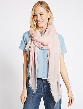 Chenille Striped Scarf, PALE PINK, catlanding