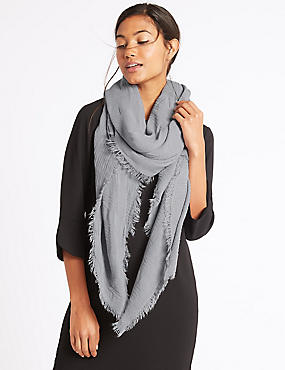 Chenille Striped Scarf, GREY, catlanding