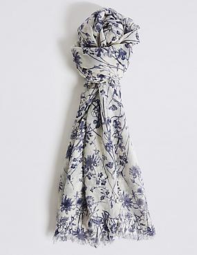 Foulard à imprimé fleuri, CRÈME ASSORTI, catlanding