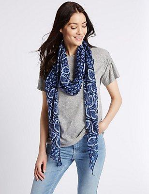 Tie Dye Print Scarf, BLUE MIX, catlanding