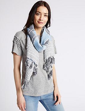 Cotton Rich Striped Tassel Scarf, BLUE MIX, catlanding
