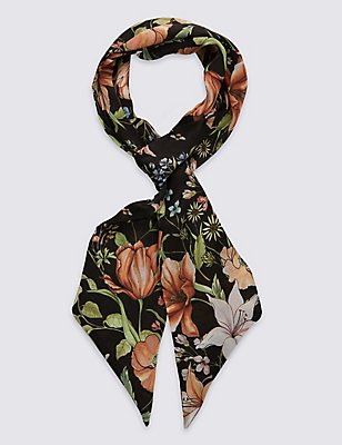Floral Print Slash End Scarf, NAVY MIX, catlanding