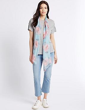 Pure Silk Floral Print Scarf, DUCK EGG, catlanding
