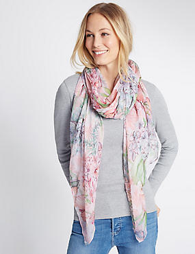 Pretty Floral Print Scarf, PINK MIX, catlanding