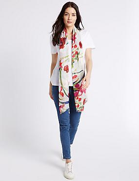 Sequin Floral Scarf, CREAM MIX, catlanding