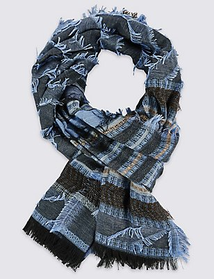 Chevron Striped Scarf, BLUE, catlanding