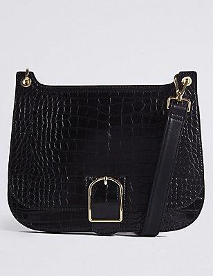 Faux Leather Buckle Saddle Across Body Bag , BLACK MIX, catlanding