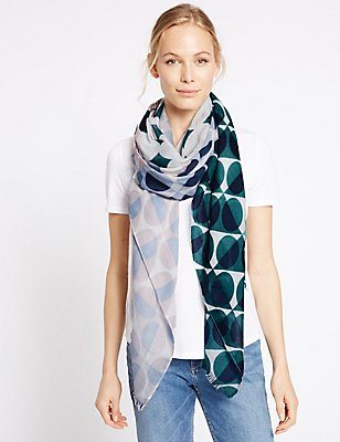 Patchwork Spotted Scarf, LIGHT CREAM, catlanding