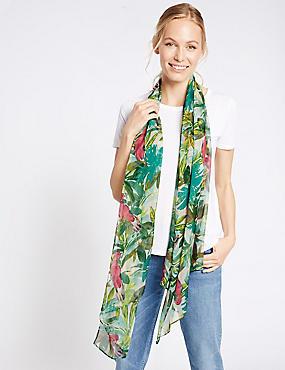Pure Silk Parrot Print Scarf, GREEN, catlanding