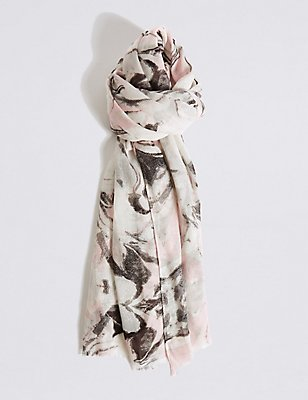 Marble Shimmer Print Scarf, WHITE MIX, catlanding