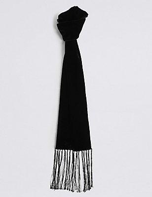 Velvet Skinny Tassel Scarf, BLACK, catlanding