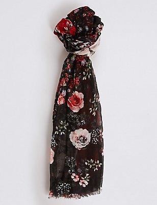 Foulard à imprimé fleuri en patchwork, ROUGE ASSORTI, catlanding