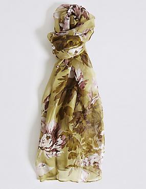 Pure Silk Floral Print Scarf, KHAKI MIX, catlanding