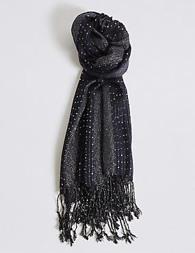 Sequin Striped Scarf, NAVY, catlanding