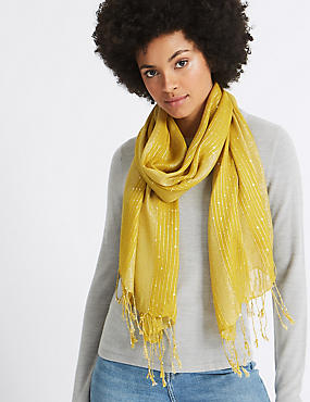 Sequin Striped Scarf, OCHRE, catlanding