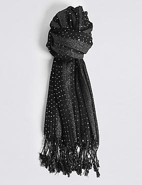 Sequin Striped Scarf, BLACK, catlanding