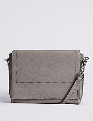 Faux Leather Across Body Bag, GREY, catlanding