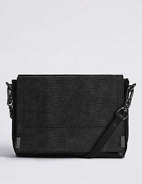 3 Part Compartment Across Body Bag, BLACK, catlanding