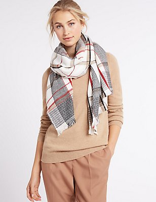 Elevated Check Scarf, CREAM MIX, catlanding