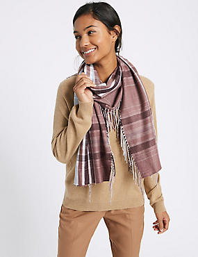 Printed Side Fringe Scarf, MULBERRY MIX, catlanding