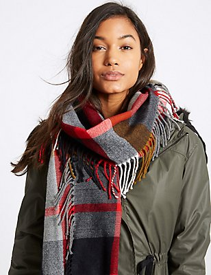Elevated Check Side Fringe Scarf, NAVY MIX, catlanding
