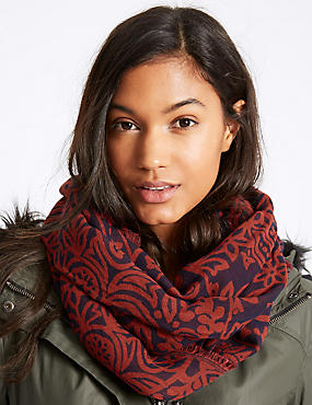 Pure Cotton Jacquard Print Scarf, NAVY MIX, catlanding