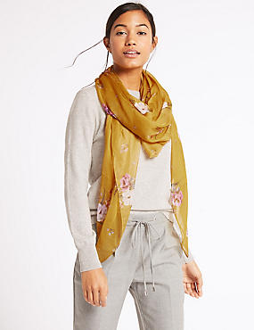 Floral Print Square Scarf , OCHRE, catlanding