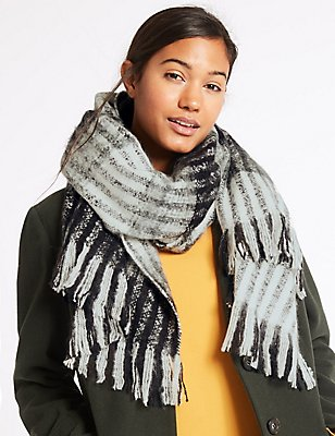 Brush Striped Scarf, BLACK/WHITE, catlanding