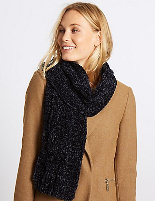 Cable Chenille Scarf, NAVY, catlanding