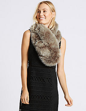 Faux Fur Slot Through Scarf, GREY, catlanding