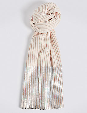 Foil Contrasting Edge Scarf, SILVER, catlanding