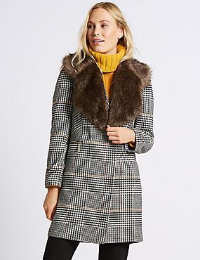 Faux Fur Collar Scarf, BROWN, catlanding