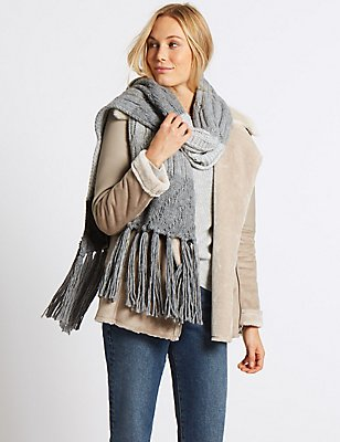 Colour Block Cable Knit Scarf, GREY MIX, catlanding