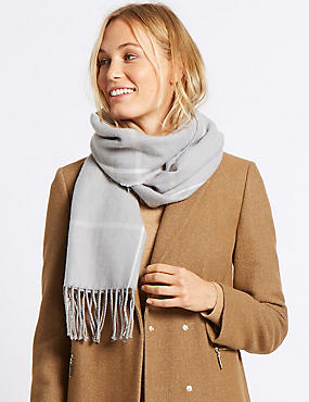 Wool Blend Checked Scarf for €5 when you spend €40, GREY MIX, catlanding