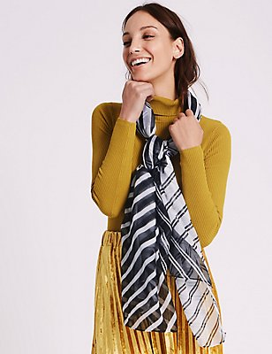 Spliced Stripe Scarf, BLACK/WHITE, catlanding